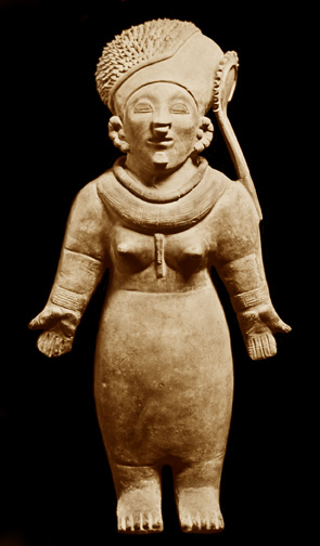 gorgeously rendered clay figurine of woman with outstretched palms, bare breasted, with headdress