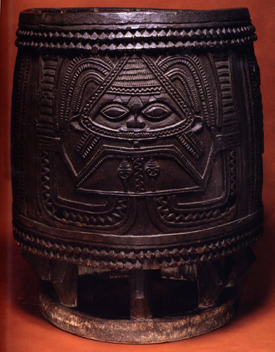 drum carved in fine relief with image of mermaid-like goddess