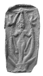 Syrian plaque of goddess between palm tree fronds