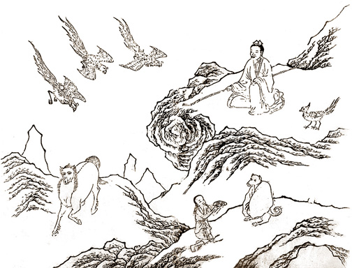 xiwangmu sitting on mountainside with birds bringing berries
