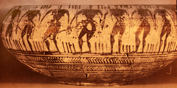 archaic Greek vessel: Libyan dancers