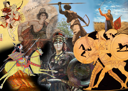 women warriors from Japan, Turkey, Burkina Faso, Argentina, Ukraine, Central Asia, and Kiowa Country
