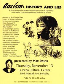 Racism History and Lies at La Peña Community Center, Berkeley CA