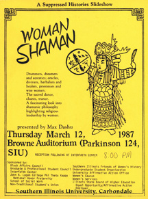 Woman Shaman, talk by Max Dashu at Southern Illinois University, 1986