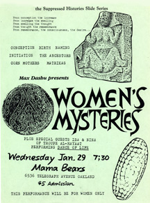 Women's Mysteries flyer, Mama Bears bookstore, ca 1985